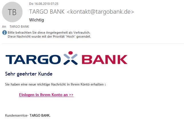 Targo Bank - gefälschte Email